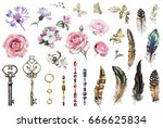 watercolor set with pink roses ... | Shutterstock . vector #666625834