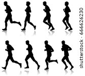 set of silhouettes. runners on... | Shutterstock . vector #666626230