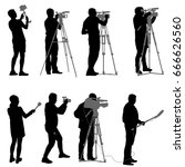 set cameraman with video camera.... | Shutterstock . vector #666626560
