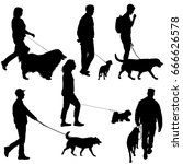 Stock photo set silhouette of people and dog on a white background 666626578