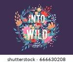elegant floral typography... | Shutterstock .eps vector #666630208