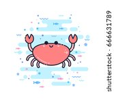 cute cartoon jellyfish... | Shutterstock .eps vector #666631789