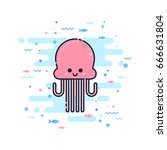 cute cartoon jellyfish... | Shutterstock .eps vector #666631804
