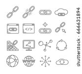 set of link related vector line ... | Shutterstock .eps vector #666631894