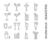 set of cocktail related vector... | Shutterstock .eps vector #666631906