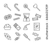 set of candy related vector... | Shutterstock .eps vector #666631939