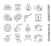 set of honey related vector... | Shutterstock .eps vector #666631969