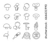 set of mushrooms related vector ... | Shutterstock .eps vector #666631990