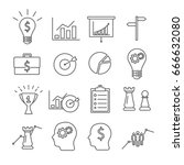 set of strategy related vector... | Shutterstock .eps vector #666632080