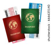 two different passports with... | Shutterstock .eps vector #666635140