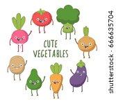 set of cute vector vegetables.... | Shutterstock .eps vector #666635704