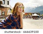 beautiful girl in sunglasses.... | Shutterstock . vector #666639100