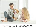 children with a dog | Shutterstock . vector #666640279