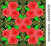 vector rose flower seamless... | Shutterstock .eps vector #666640624