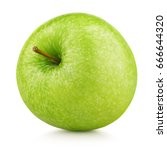 single ripe green apple fruit... | Shutterstock . vector #666644320