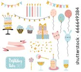 party set of decorations  gifts ... | Shutterstock .eps vector #666649384