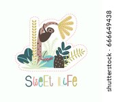 jungle background with tropical ... | Shutterstock .eps vector #666649438