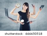 multitask business woman with... | Shutterstock . vector #666650518