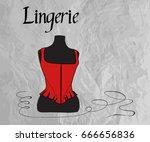 women's red corset on dress... | Shutterstock .eps vector #666656836