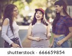 happy group of female friends... | Shutterstock . vector #666659854