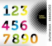 vector halftone numbers ...   Shutterstock .eps vector #666661003