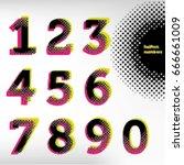 vector halftone numbers ...   Shutterstock .eps vector #666661009