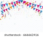 confetti and flag ribbons ... | Shutterstock .eps vector #666662416
