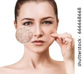 zoom circle shows facial skin... | Shutterstock . vector #666668668