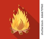 bonfire.tent single icon in... | Shutterstock . vector #666670960