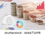 pile coin money with account... | Shutterstock . vector #666671698