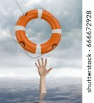 Small photo of Man is drowning in ocean and is catching life buoy. 3D rendered illustration of life buoy.