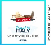 travel to italy. travel... | Shutterstock .eps vector #666674164