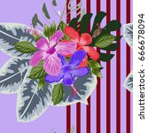 tropical seamless floral... | Shutterstock .eps vector #666678094
