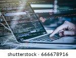 hacker using laptop. lots of... | Shutterstock . vector #666678916