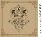 old vintage card with floral... | Shutterstock .eps vector #666685258