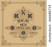 old vintage card with floral... | Shutterstock .eps vector #666686719