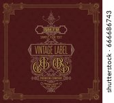 old vintage card with floral...   Shutterstock .eps vector #666686743
