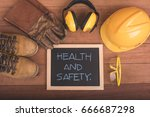 standard construction safety... | Shutterstock . vector #666687298