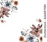cute watercolor flower... | Shutterstock . vector #666687484