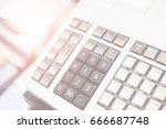 close up one cash register in... | Shutterstock . vector #666687748