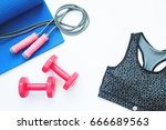 flat lay of sport bra and sport ... | Shutterstock . vector #666689563