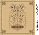 old vintage card with floral... | Shutterstock .eps vector #666689809