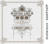 old vintage card with floral... | Shutterstock .eps vector #666691609