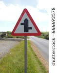 Small photo of Junctions ahead - a sign near Whitsand Bay, between Looe in Cornwall and Plymouth in Devon