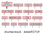french cities road signs... | Shutterstock .eps vector #666692719