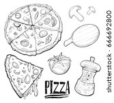 illustration of pizza drawing...   Shutterstock .eps vector #666692800