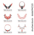 orange and gray necklace logo...   Shutterstock .eps vector #666694210