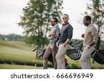stylish multiethnic men holding ... | Shutterstock . vector #666696949