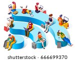 isometric people wi fi and... | Shutterstock .eps vector #666699370