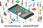isometric people and connecting ... | Shutterstock .eps vector #666699469